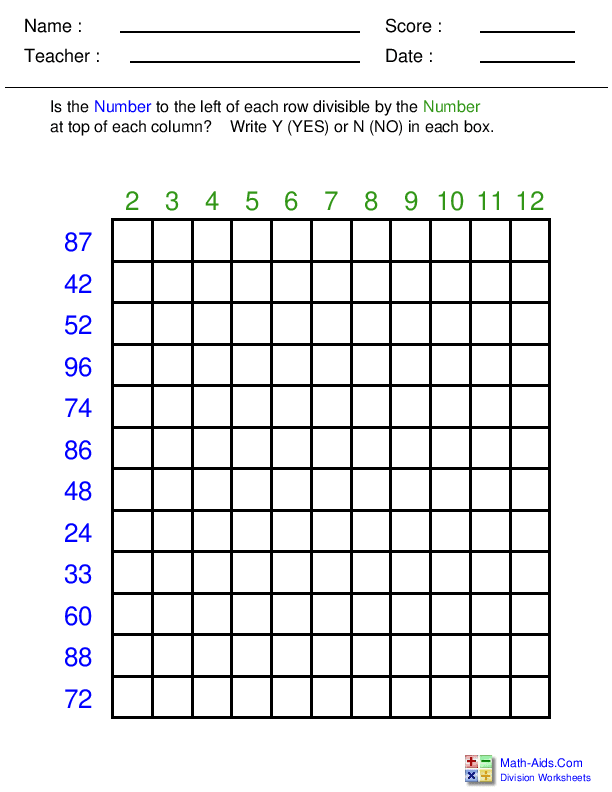 Division Worksheets | Printable Division Worksheets for Teachers
