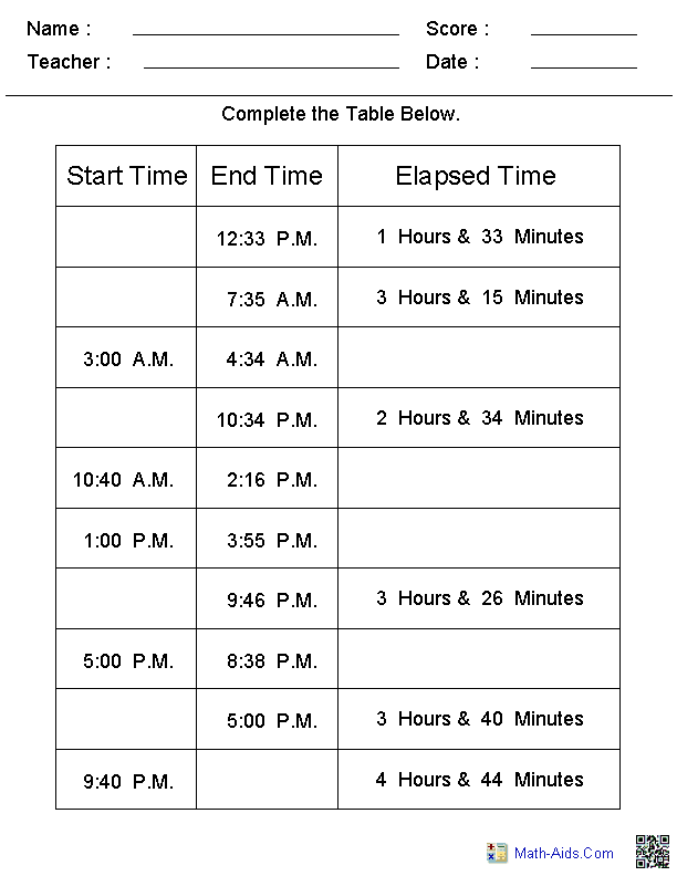Elapsed Time Table Worksheets