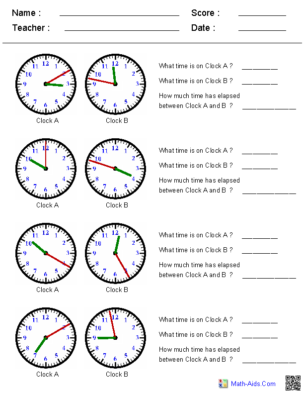 Worksheets Clocks Worksheets time worksheets for learning to tell using two clocks elapsed worksheets