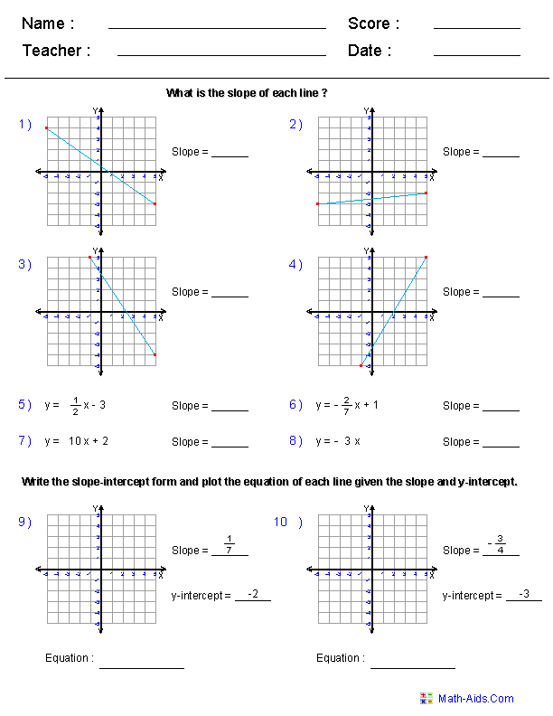 Lines on a Coordinate Plane Worksheets