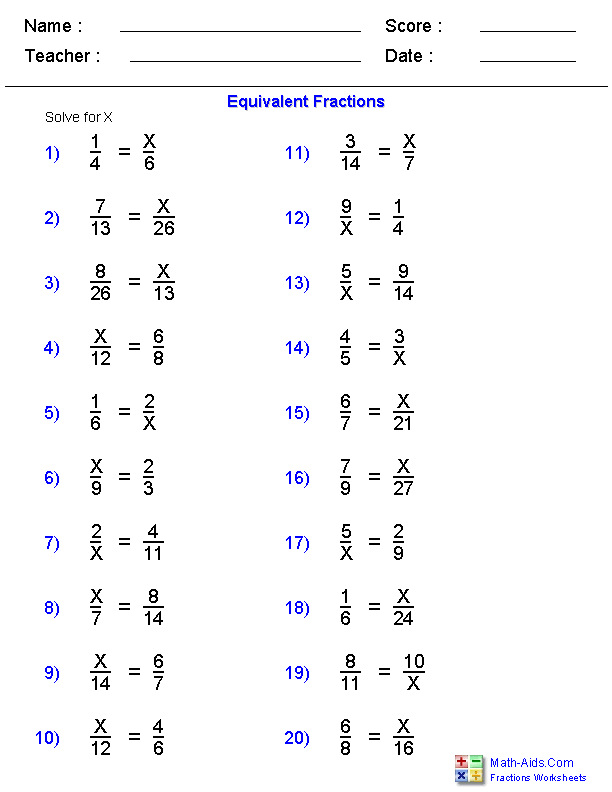 Fractions Worksheets | Printable Fractions Worksheets for TeachersEquivalent Fraction Problems Worksheets