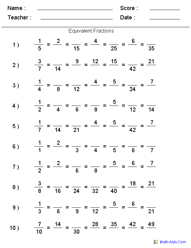 Fractions Worksheets – Free Equivalent Fractions Worksheet
