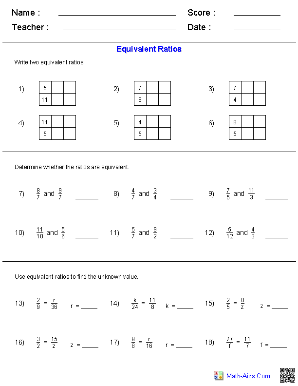 Equivalent Ratios with Variables (B) Math Worksheet (Revised to ...