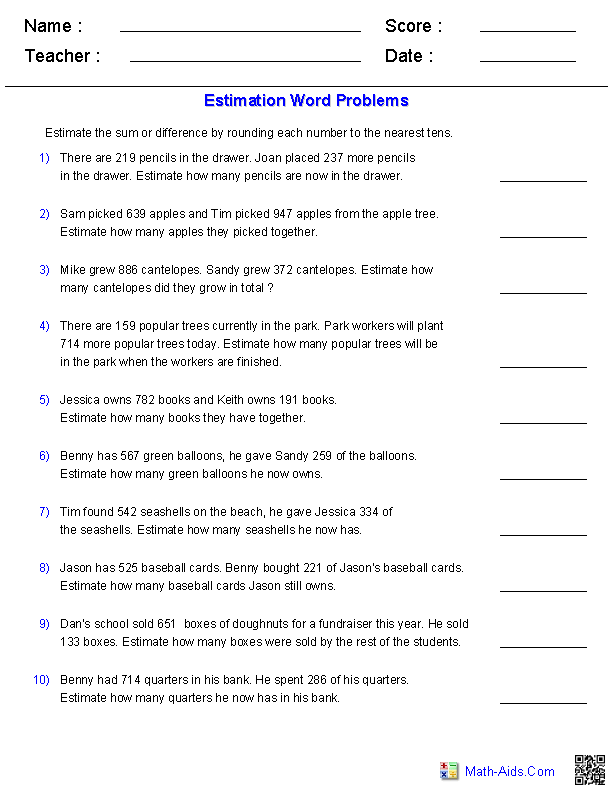 Printables First Grade Math Worksheets Word Problems estimation worksheets dynamically created sums andor differences 3 digits word problems