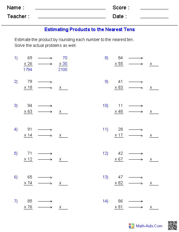 Estimation Worksheets | Dynamically Created Estimation ...