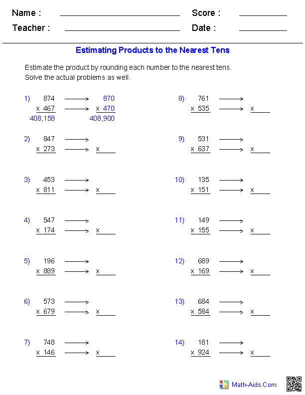 Estimation Worksheets – Grade 4 Mental Math Worksheets