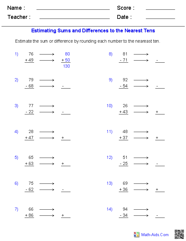 Estimation Worksheets – Addition of Whole Numbers Worksheets