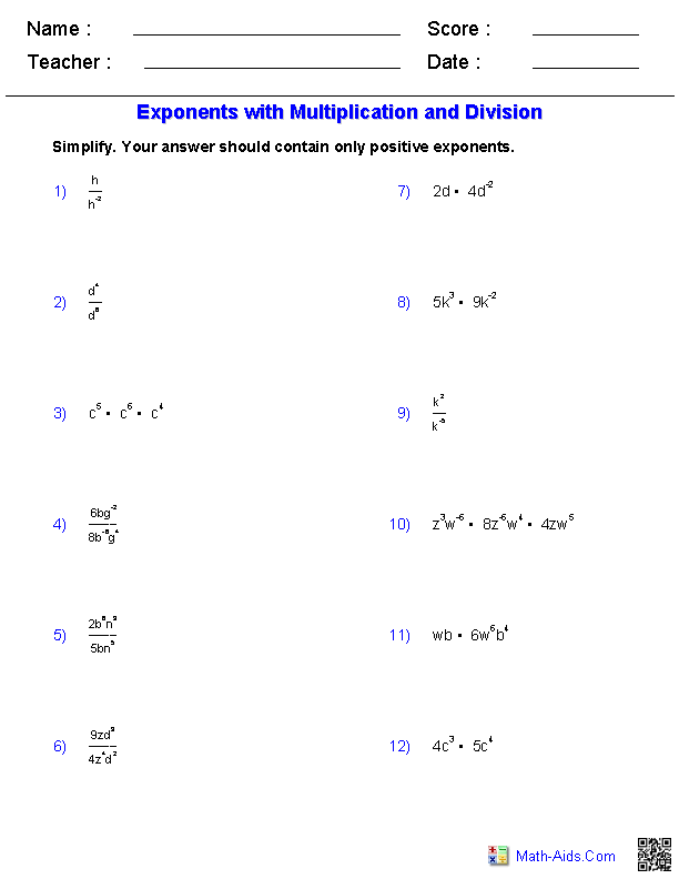 Algebra 1 Worksheets | Exponents WorksheetsExponents with Multiplication and Division Worksheets