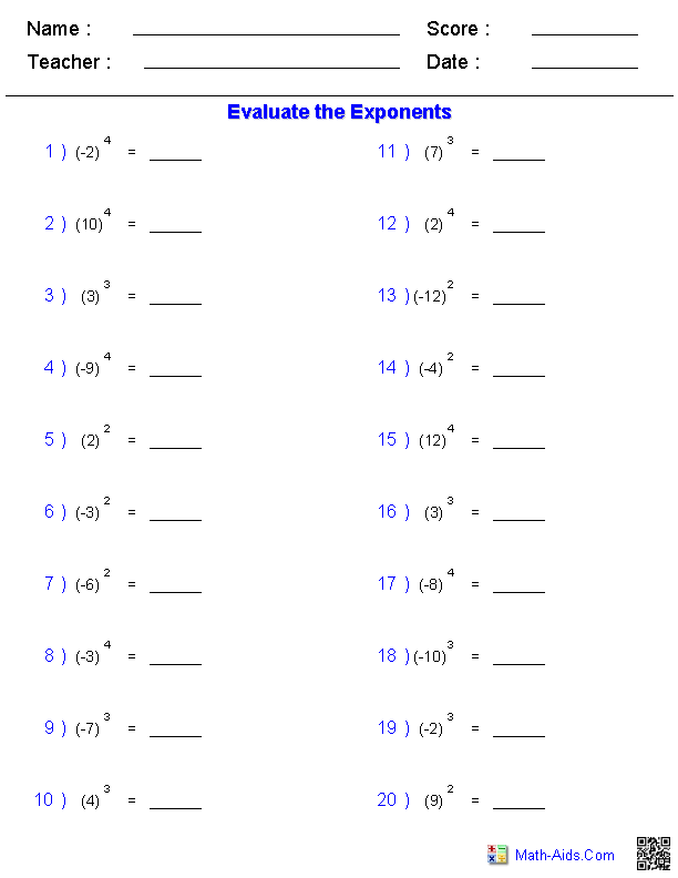 Exponents and Radicals Worksheets – Evaluating Exponents Worksheet