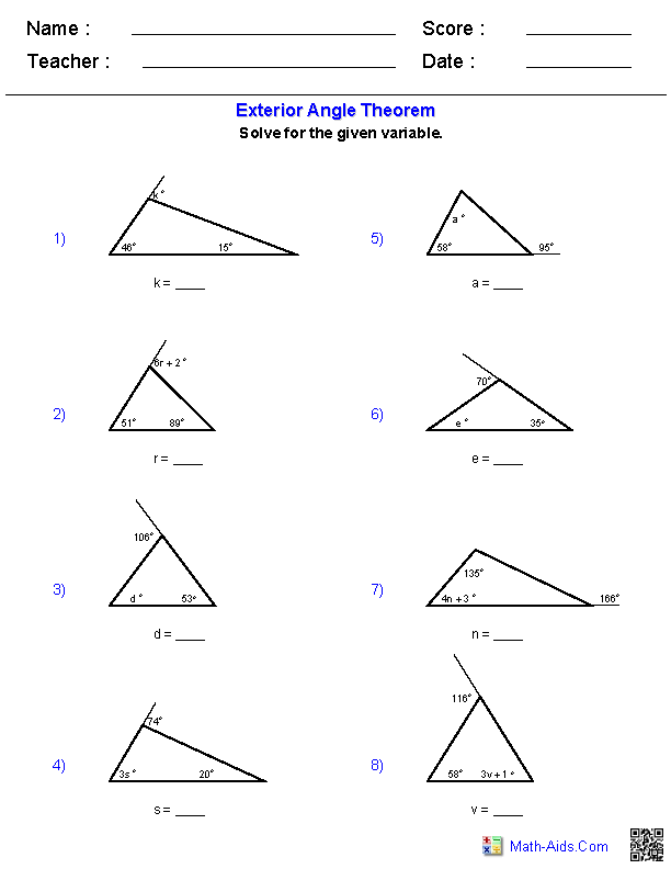 Triangle interior angles worksheet for Exterior angle theorem
