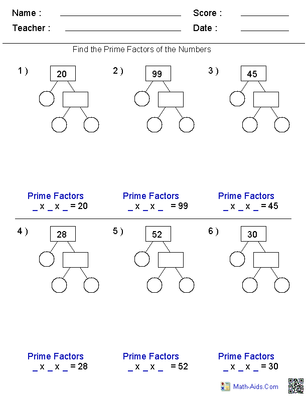 Factors Worksheets – Least Common Multiple and Greatest Common Factor Worksheets