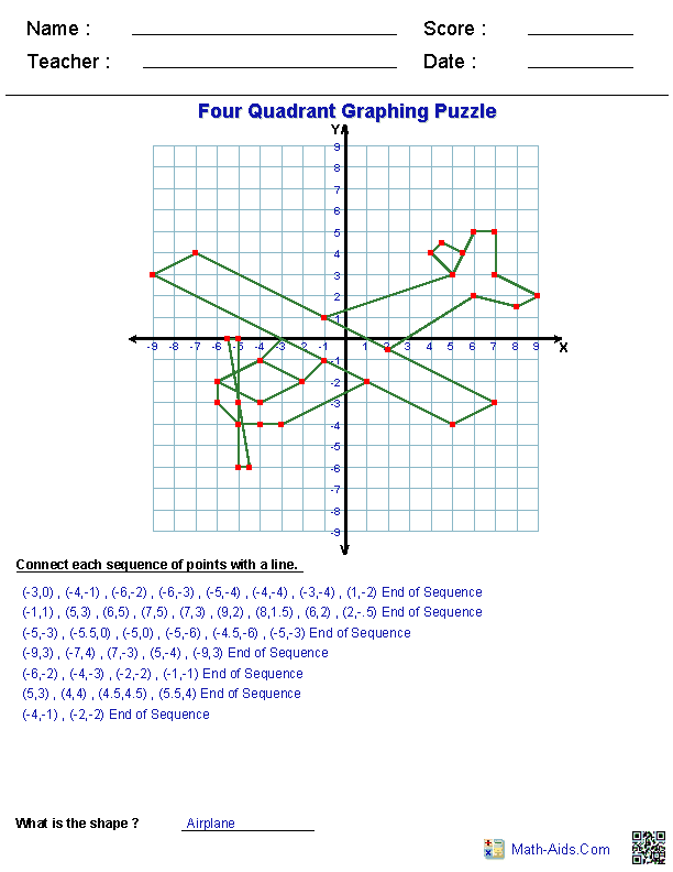 Four Quadrant Graphing Puzzle