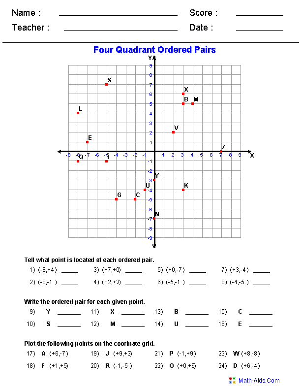 Four Quadrant Ordered Pair Worksheets