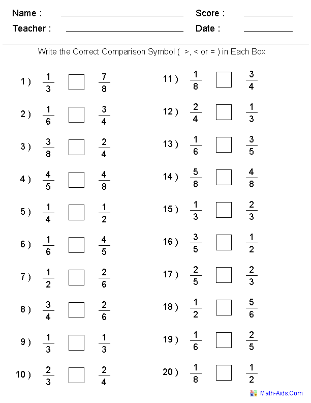 Fractions Worksheets – Math Comparison Worksheets