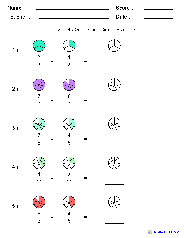 Visually Subtracting Fractions Worksheets