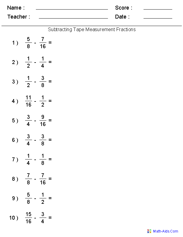 Fractions Worksheets | Printable Fractions Worksheets for TeachersSubtracting Tape Measure Fractions Worksheets
