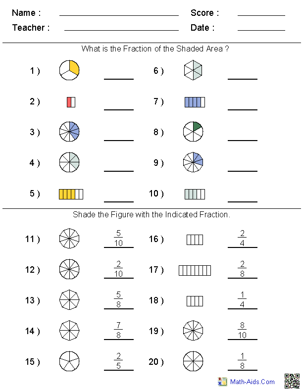 Math Worksheets – Fractions Printable Worksheets