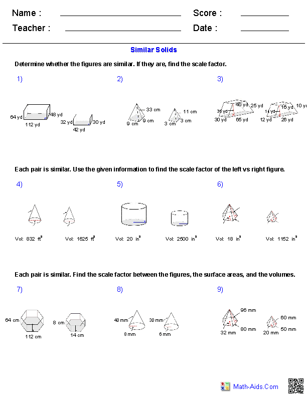 Similar Solids Volume Worksheets
