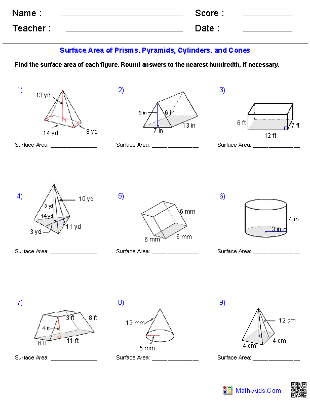 Prisms, Pyramids, Cylinders & Cones Surface Area Worksheets