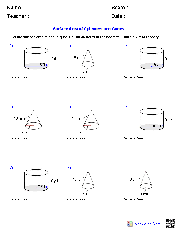 Cylinders and Cones Surface Area Worksheets