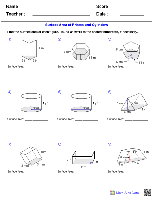prisms and cylinders surface area worksheets - Volume Of A Cylinder Worksheet
