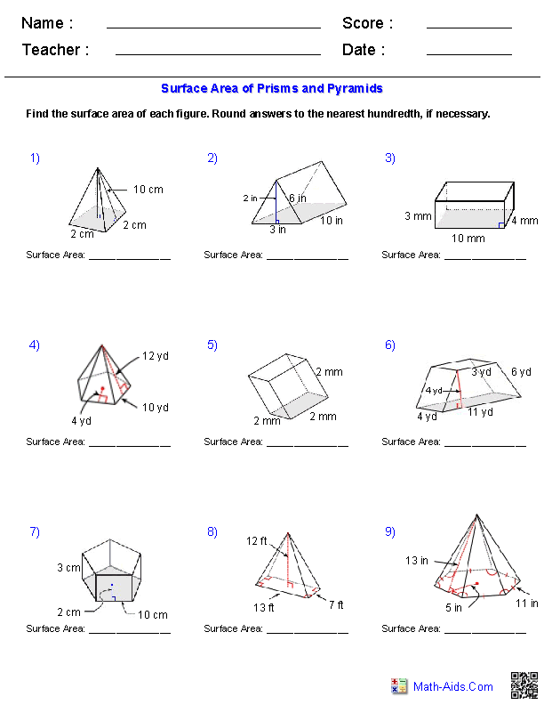 Worksheets Triangular Prism Surface Area Worksheet geometry worksheets surface area volume prisms and pyramids worksheets