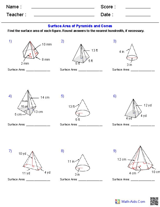 Worksheets Surface Area Of A Pyramid Worksheet geometry worksheets surface area volume pyramids and cones worksheets