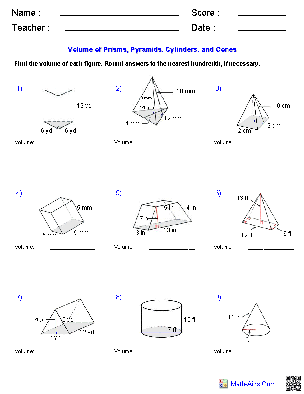 {Geometry Worksheets – Volume of Prism Worksheet