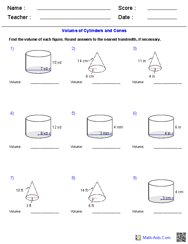 {Geometry Worksheets – Volume of Cone Worksheet