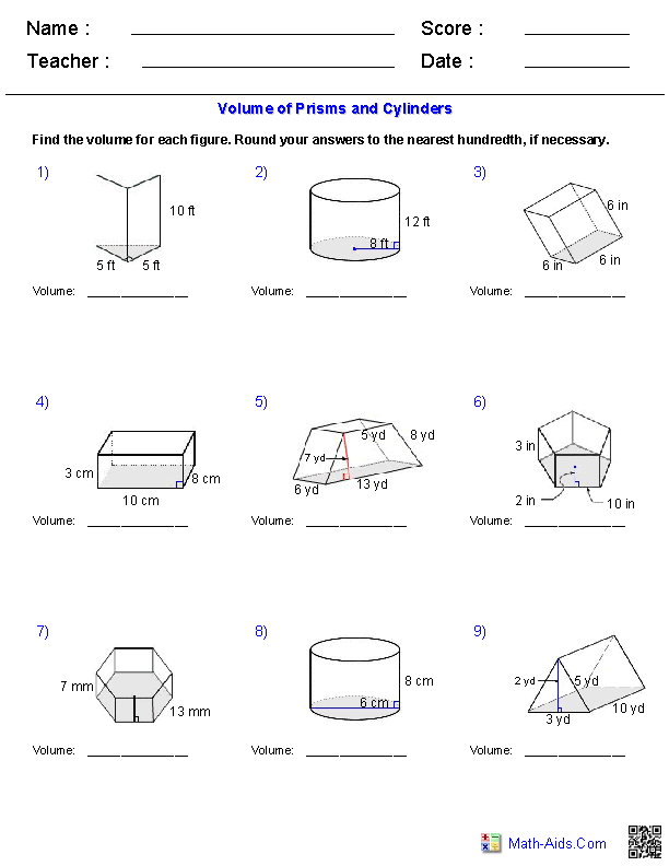 prisms and cylinders volume worksheets - Volume Of A Cylinder Worksheet