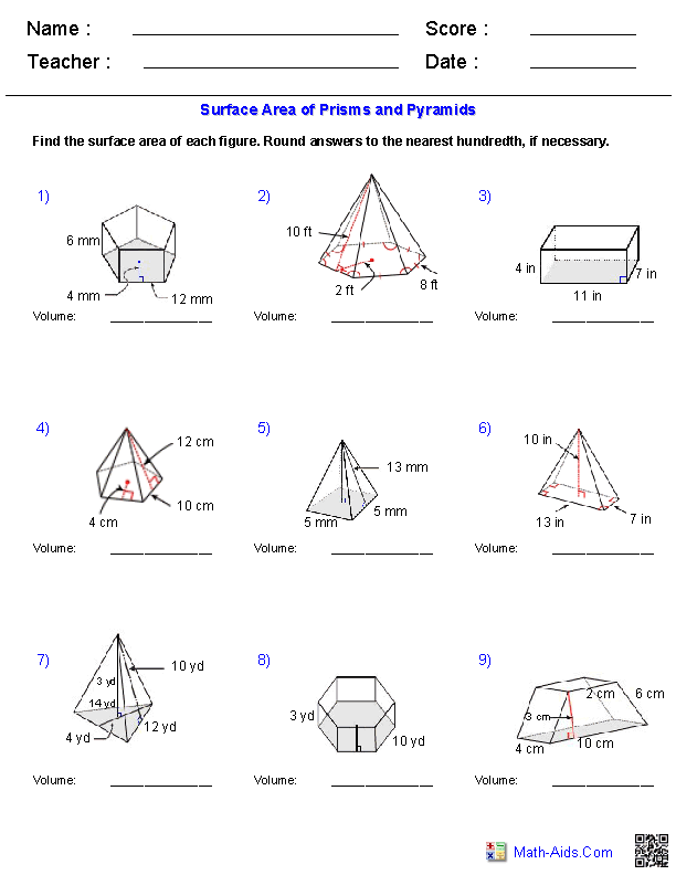 Worksheets Surface Area Of A Pyramid Worksheet geometry worksheets surface area volume prisms and pyramids worksheets