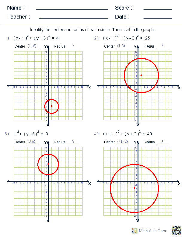 Worksheets Graphing Circles Worksheet geometry worksheets circle graphing equation of worksheets