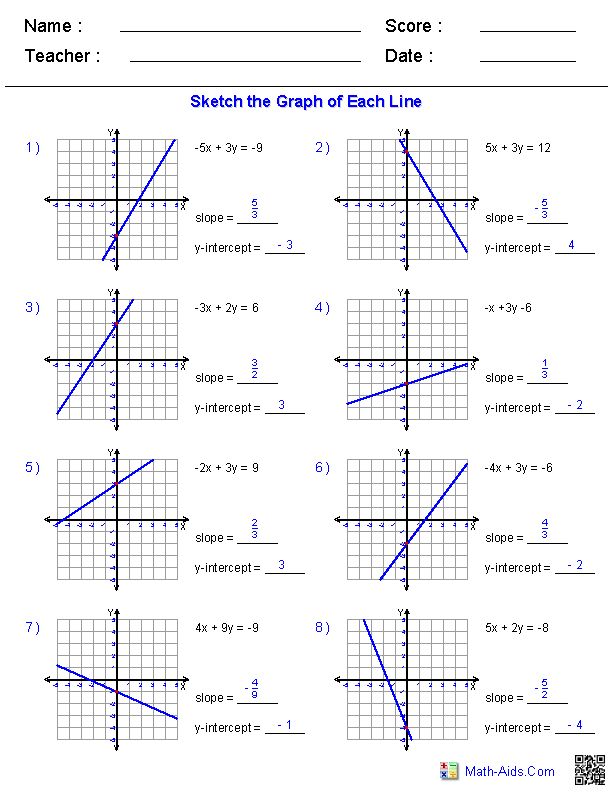Graphing Standard Form Worksheets