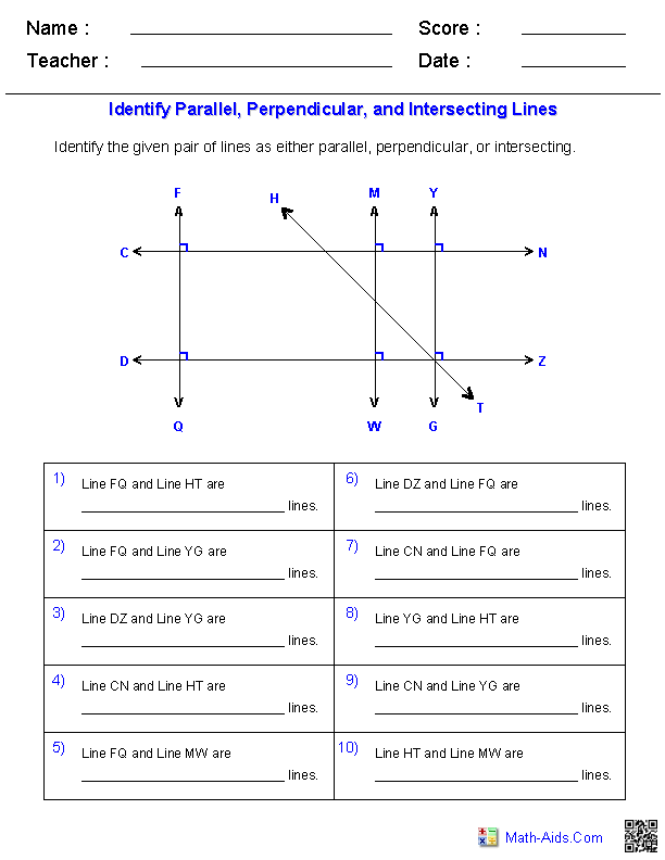 Identifying Parallel, Perpendicular, and Intersecting Linesfrom a Graph Worksheets
