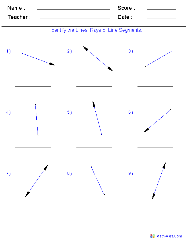 Printables Line Segment Worksheets geometry worksheets coordinate with answer keys identify lines rays and line segments