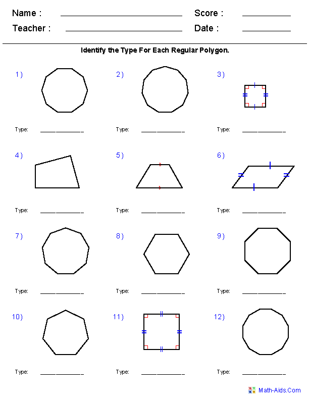 Quadrilaterals & Polygons Worksheets