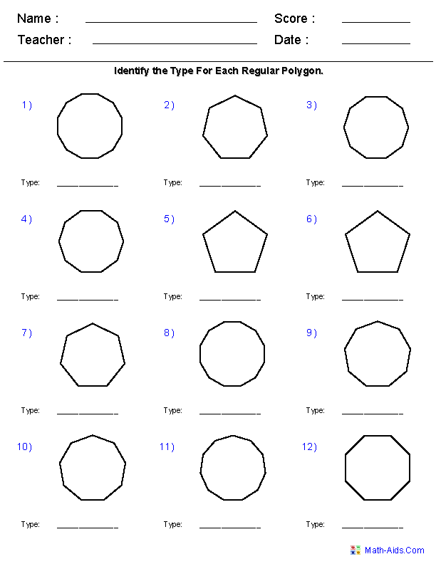Worksheet Polygons Worksheet geometry worksheets quadrilaterals and polygons identify worksheets