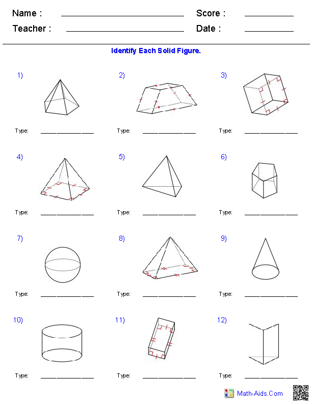 Geometry Worksheets – Volume of Cone Worksheet