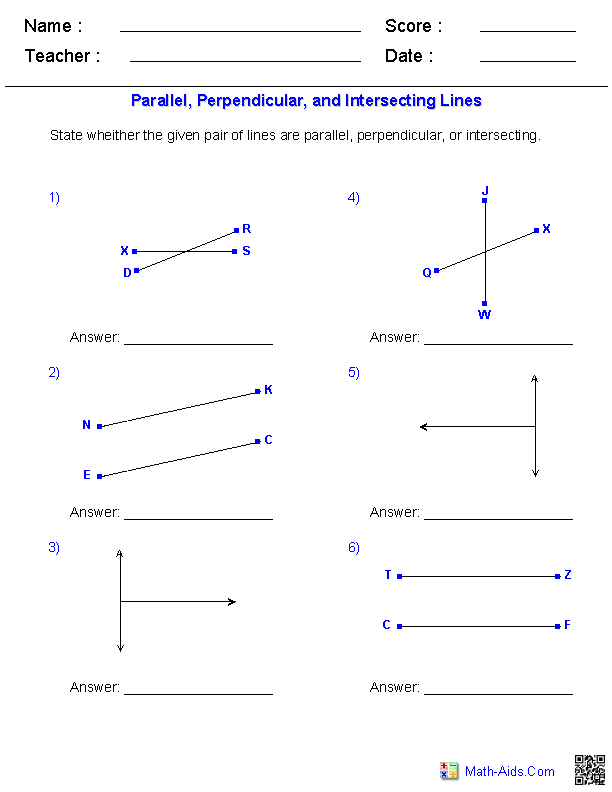 Geometry Worksheets | Parallel and Perpendicular Lines Worksheets