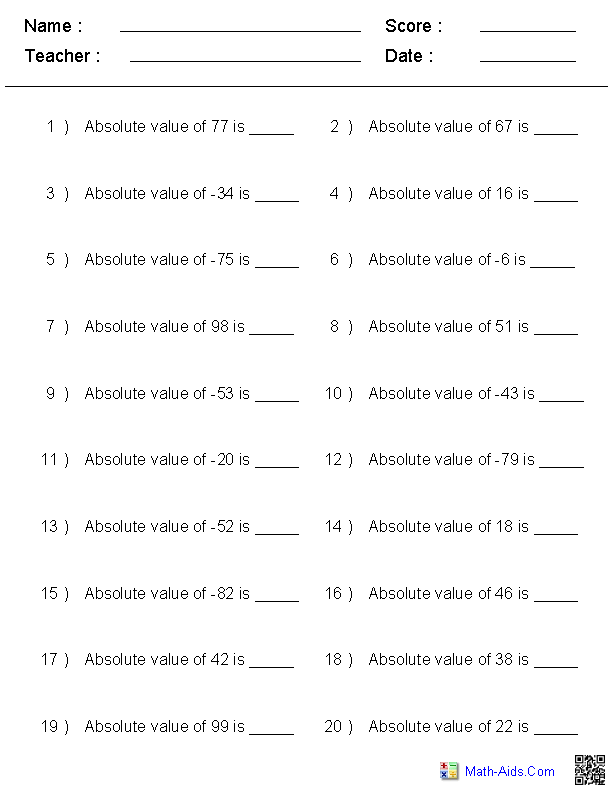 Absolute Value of Integers Worksheets