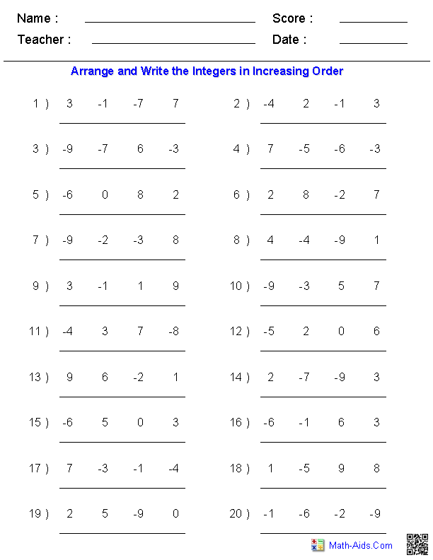 Arranging Order of Integers Worksheets