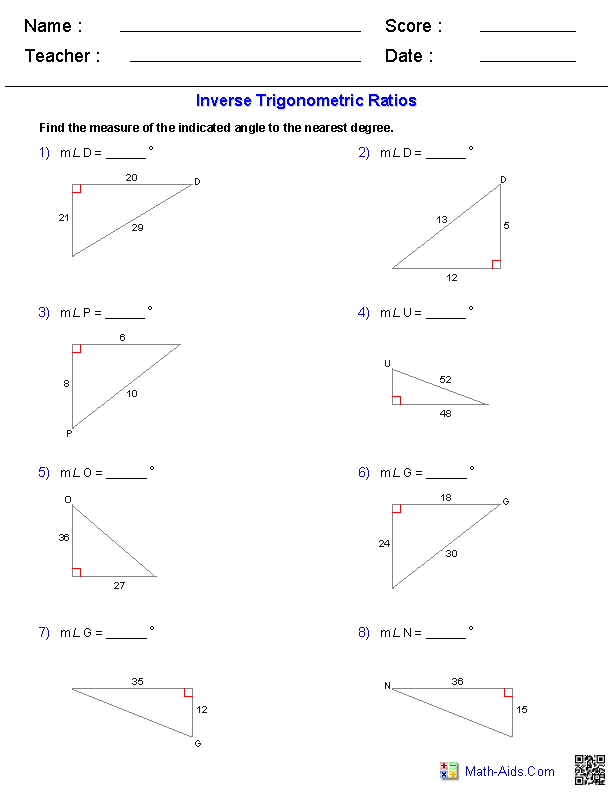 Inverse Trigonometric Ratios Worksheets