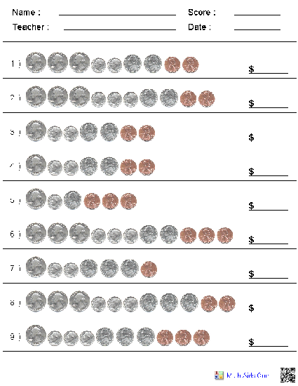 Counting Coins Kindergarten Worksheets