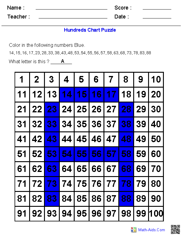 Letter Puzzles on a Hundreds Chart