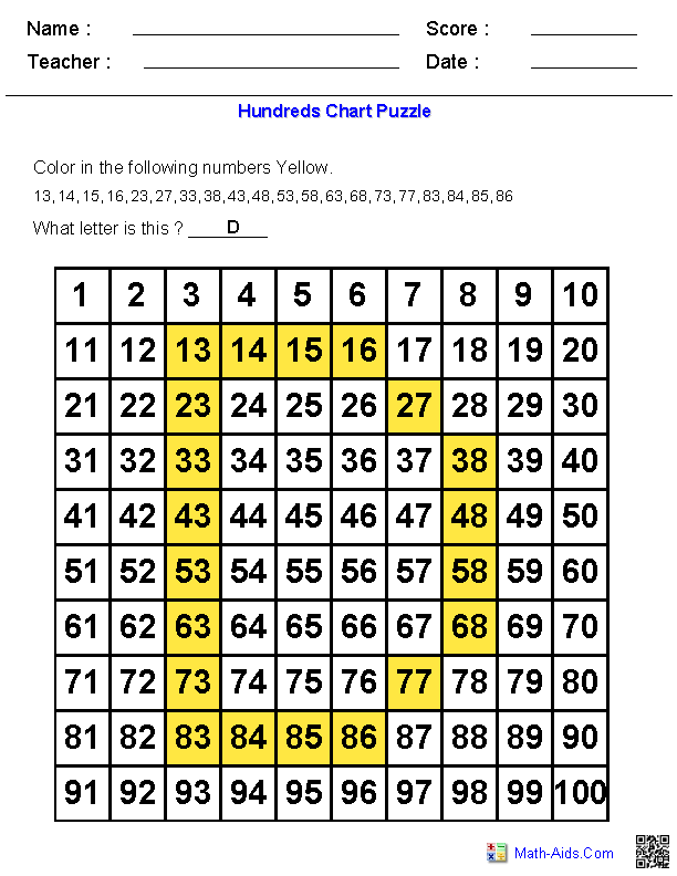 Hundreds Chart | Letter Puzzles on Hundreds Chart