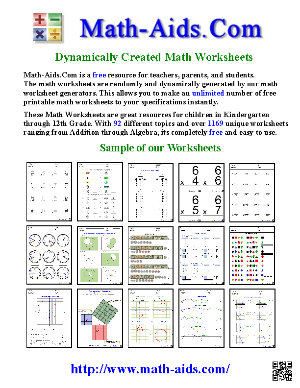 MathAidsCom About Us Page – Math Aid Worksheets