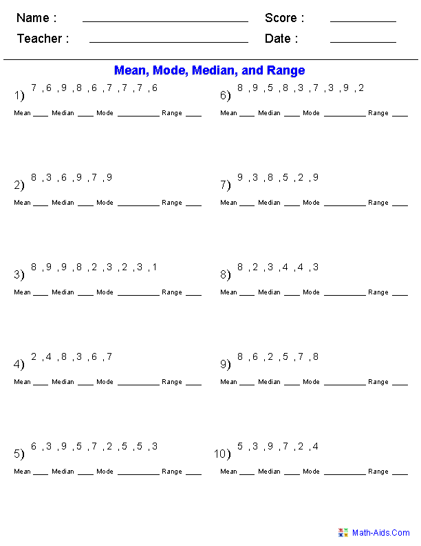 Mean Mode Median Worksheets | Mean Mode Median and Range Worksheets