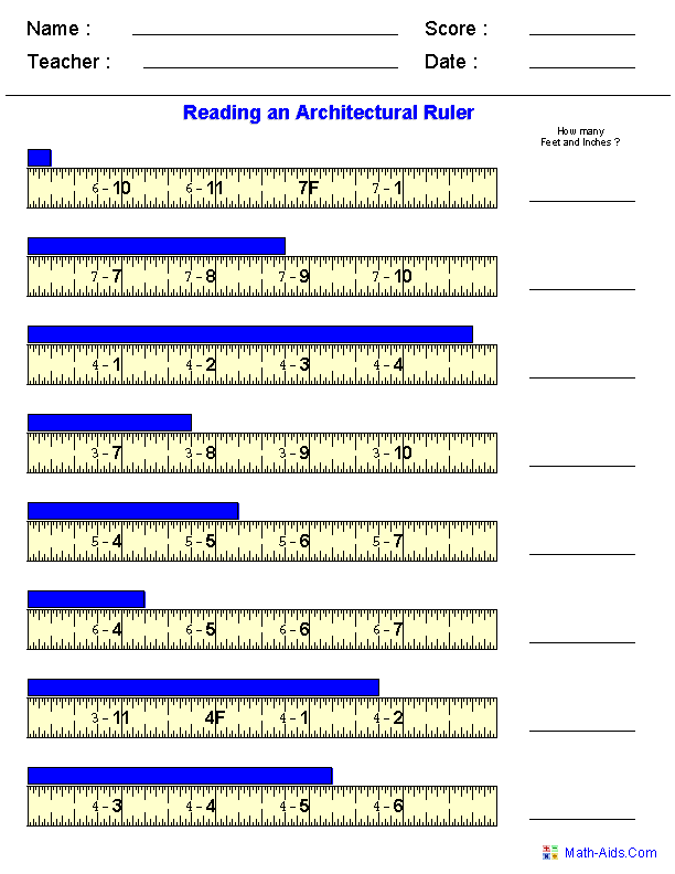 Reading Architectural Measurements Worksheets