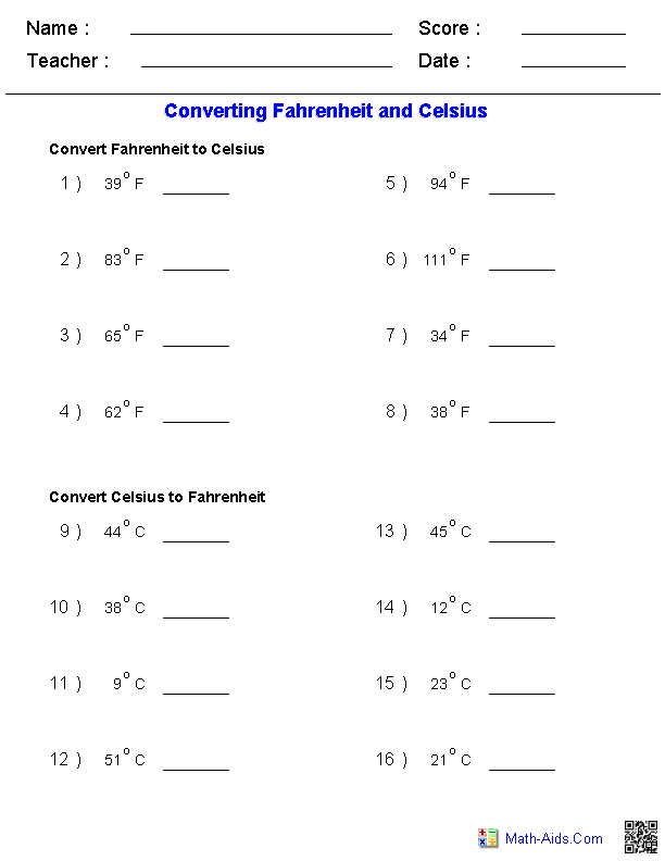 Printables Conversions Worksheet measurement worksheets dynamically created converting fahrenheit celsius temperature measurements worksheets