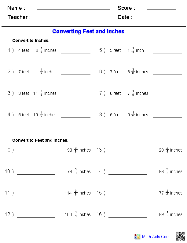 Converting Feet & Inches Measurement Worksheets